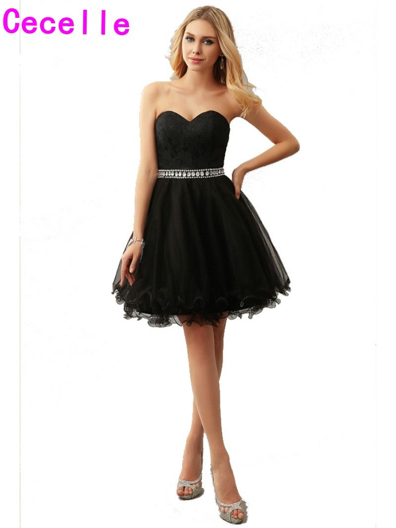Click to buy ucuc sexy black a line tulle juniors short cocktail