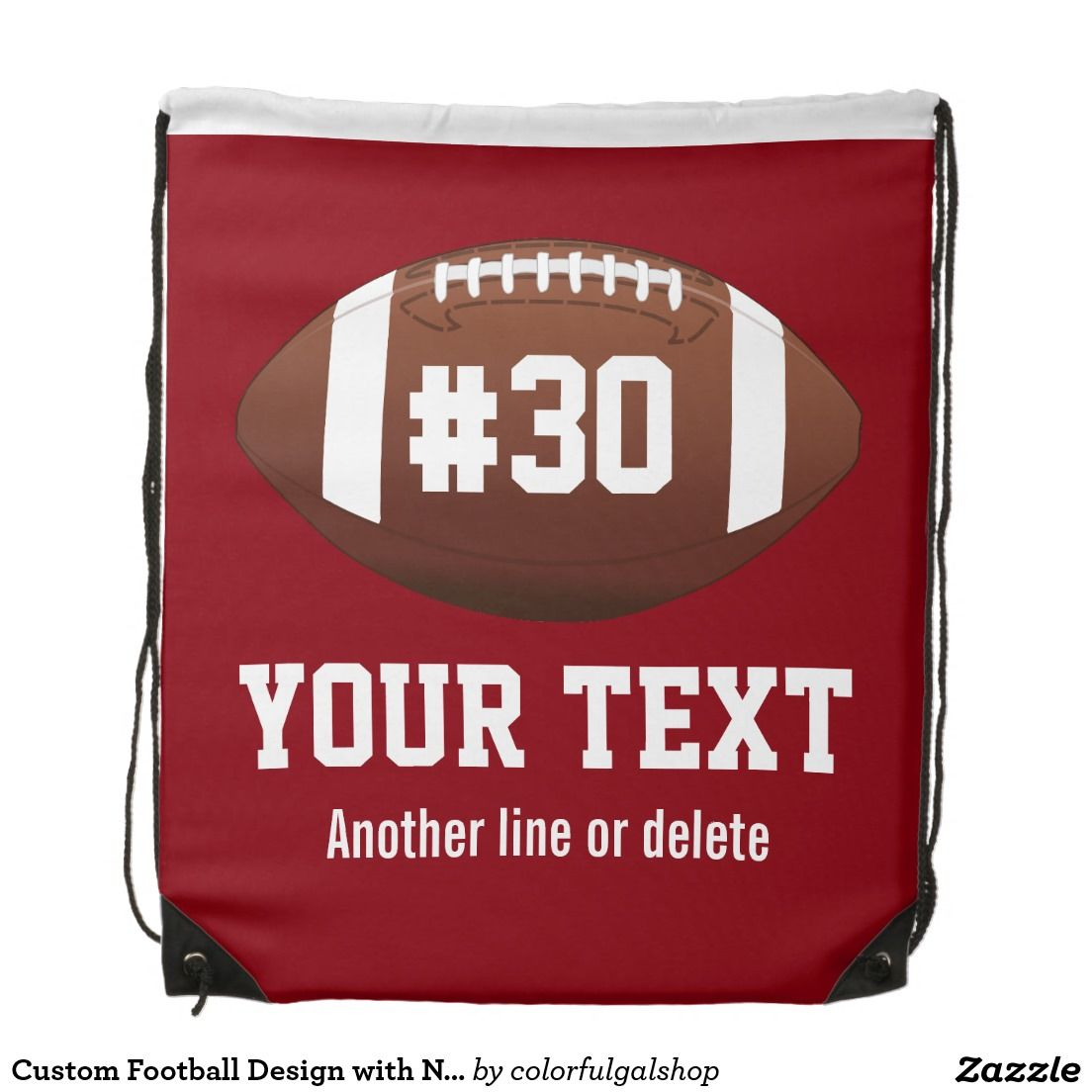 eaff39777a Custom Football Design with Name, Number, Team Backpack ...
