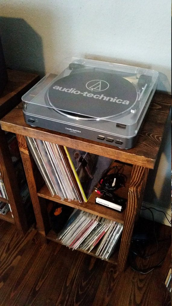 This Is A Handmade Vinyl Record Storage Unit And Turntable Stand