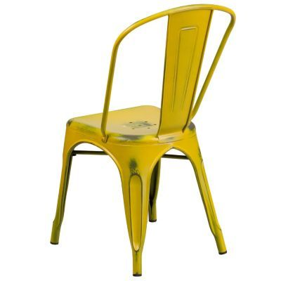 Distressed Yellow Metal Indoor Outdoor Stackable Chair Yellow