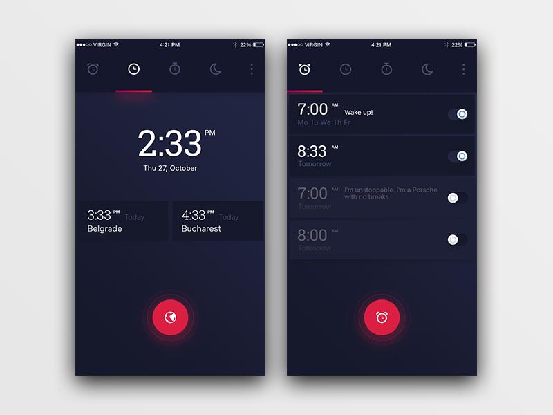 Alarm Clock App Clock, Mobile app design, App design