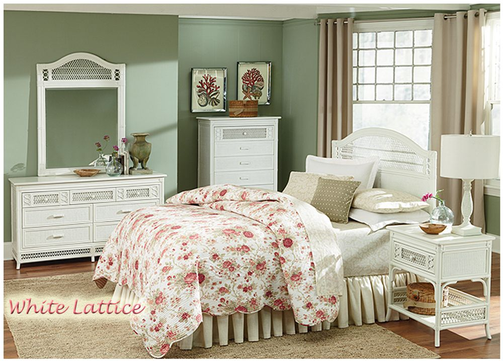 Many New Bedroom Groups For 2014 Here Is The White Lattice Http Www Americanr White Wicker Bedroom Furniture White Wicker Bedroom Wicker Bedroom Furniture