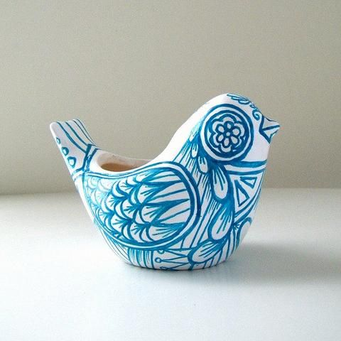 Ceramic Bird Vase  Blue White Folk Art Planter Home Decor Painted Tattoo Aqua Turquoise - Etsy
