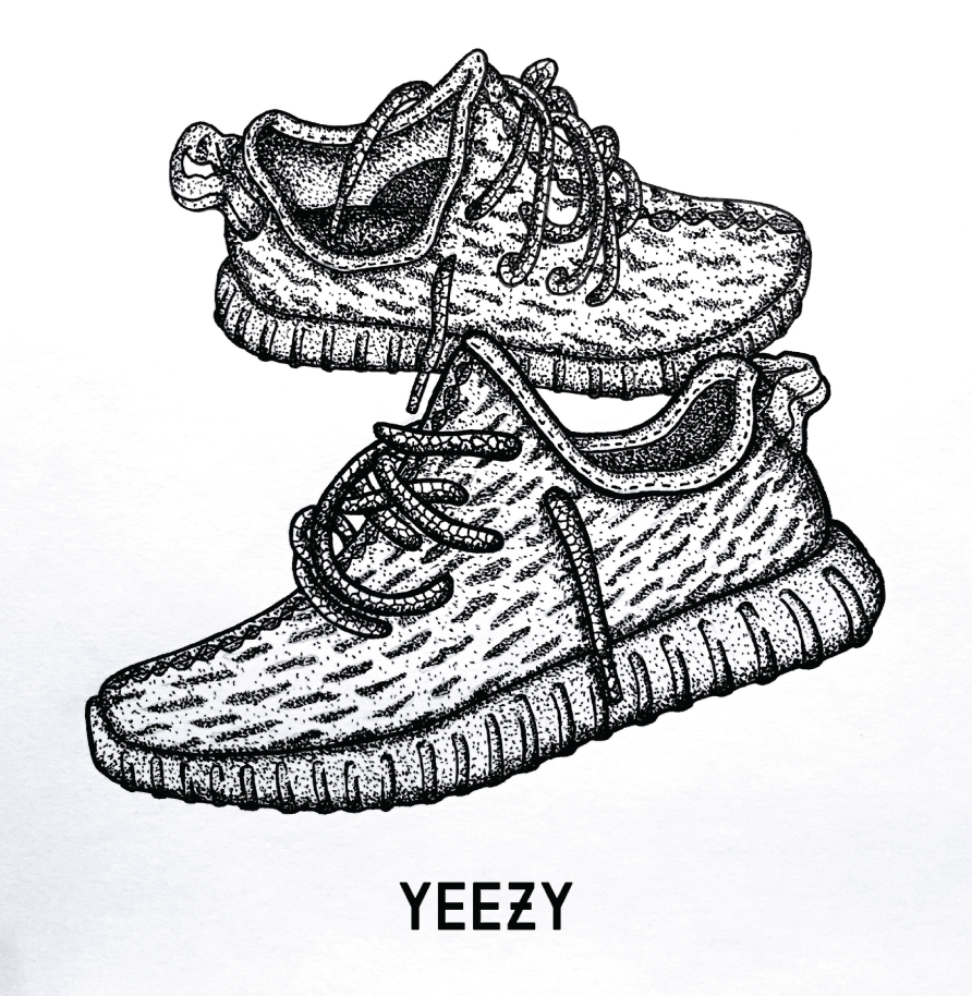 kanye west adidas yeezy boost 350 illustration
