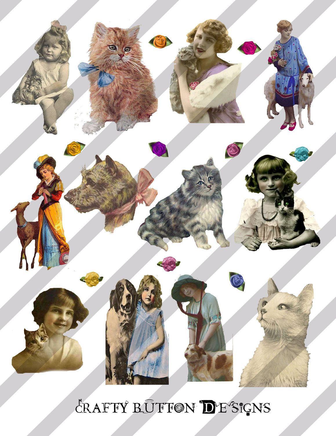 Victorian Animals and their Friends Digital Collage Sheet, png and jpg avail. $2.00, via Etsy.