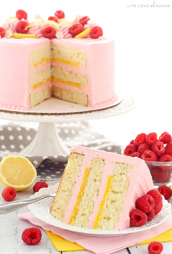Strawberry Layer Cake   Lemon curd filling, Raspberry frosting and ...