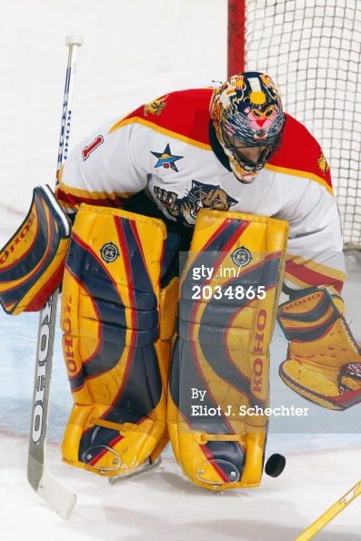 Goaltender Roberto Luongo Of The Florida Panthers Looks To Stop The