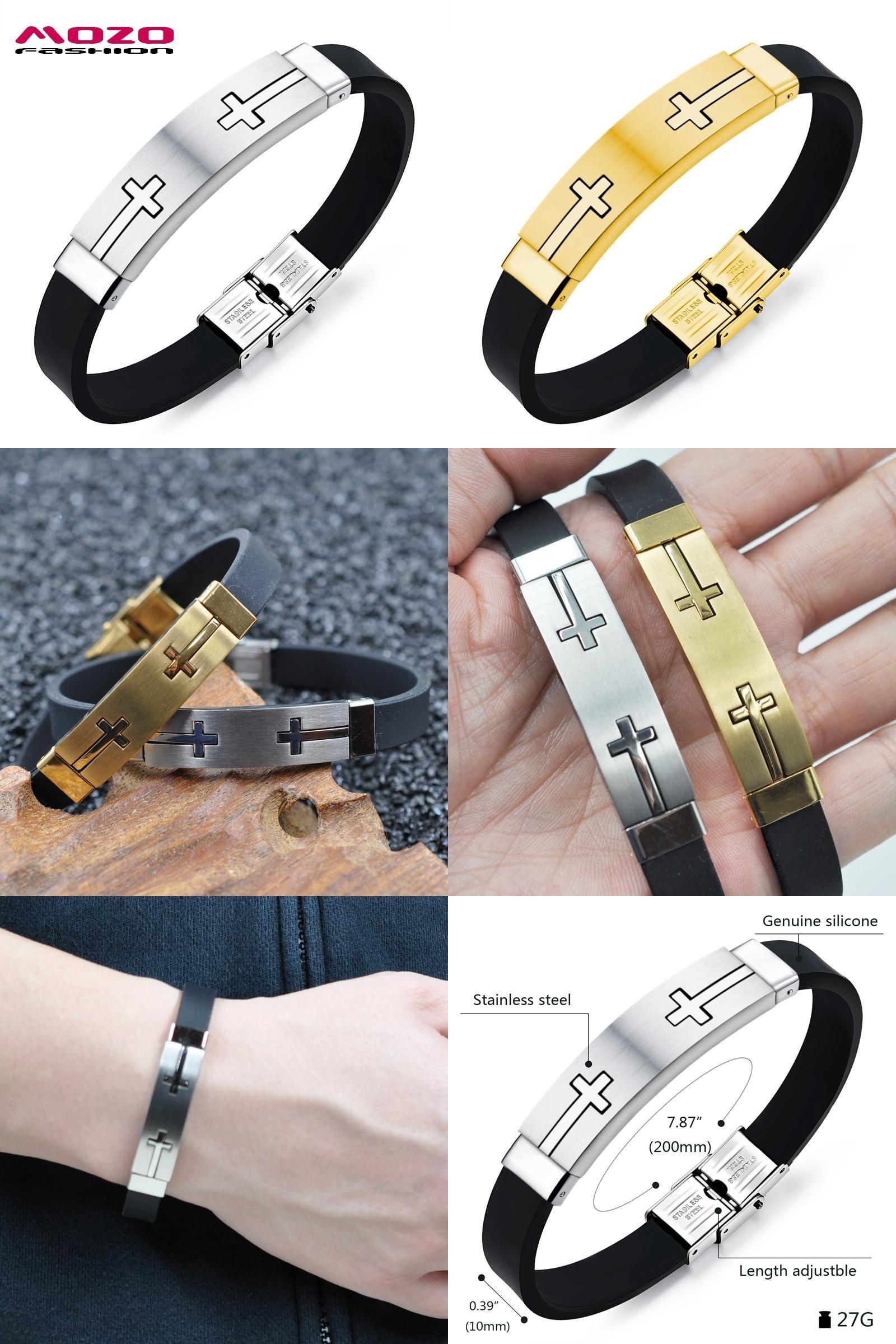 Visit to buy mozo fashion men bracelet gold silver stainless