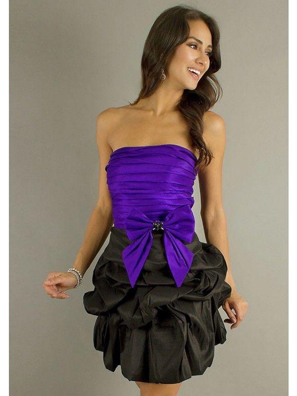 Púrpura, Negro A-line Sin Tirantes Mini Tafetán Vestidos Del Regreso ...