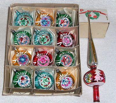6 Polish Christmas indent glass ornaments POLAND