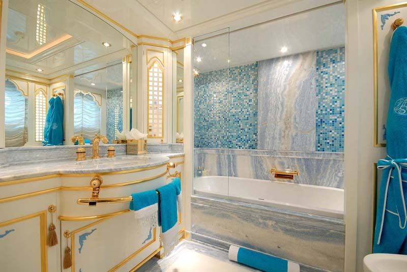 White And Gold Bathroom Ideas Part - 28: Teal Bathroom Ideas | ... Bathroom Glitters With Tiny White And Blue Wall  Tiles