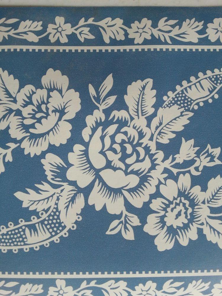 Vintage Wallpaper Border Nostalgia Ocean Blue Floral Design 15ft Nos In Package Wallpaper Border Vintage Wallpaper Blue Ocean