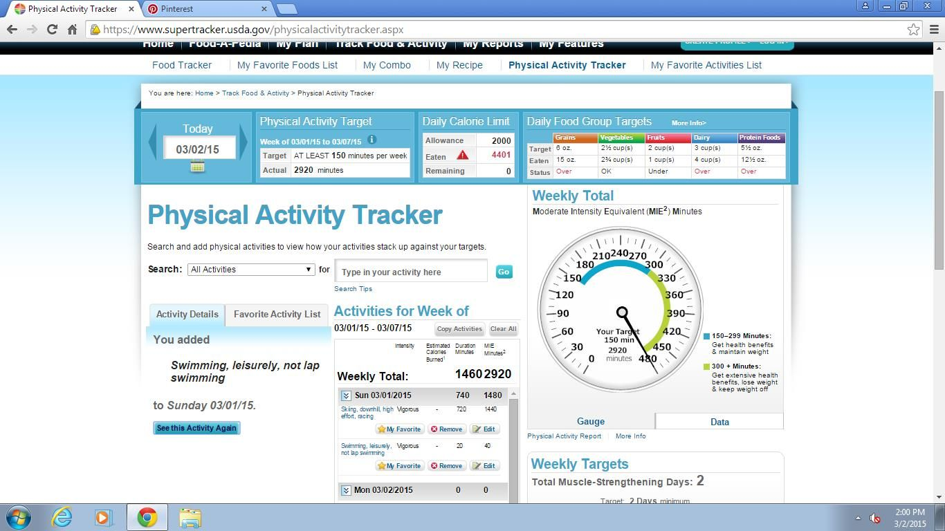 My physical activity Physical activity tracker, Physical