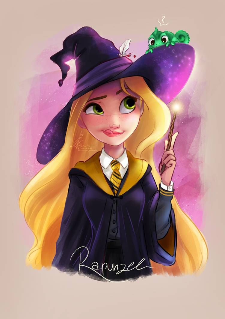 Here is some Hogwarts/Disney magic for you - Love the idea to mix Disney magic and Harry Potter magic. #Disney #Freesias_artworks #Rapunzel #Tangled #Drawing #HarryPotter