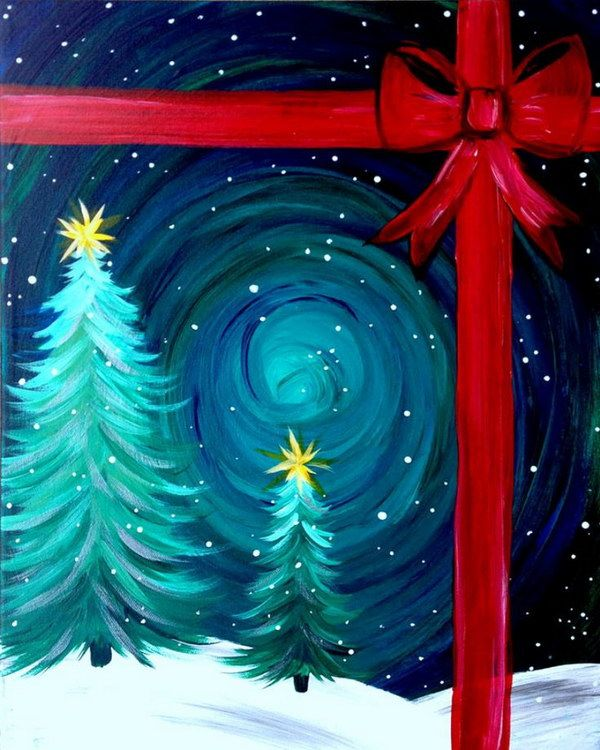15+ Easy Canvas Painting Ideas for Christmas | Canvas paintings ...