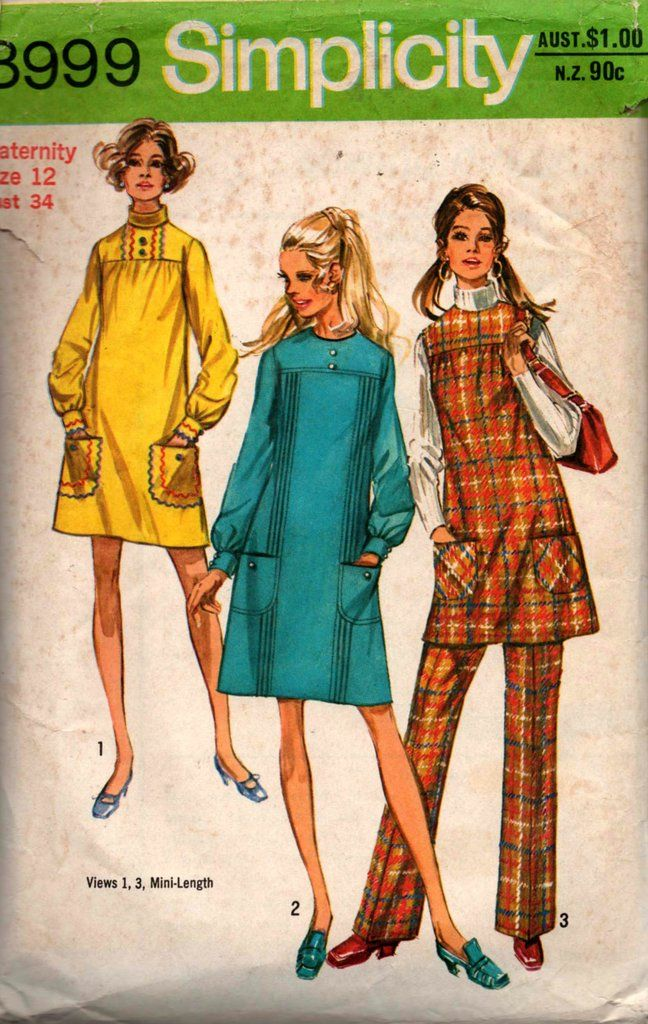 e426c3ac7f4 Simplicity 8999 Womens Maternity Dress Jumper Pants 70s Vintage Sewing  Pattern Size 12 Bust 34 inches