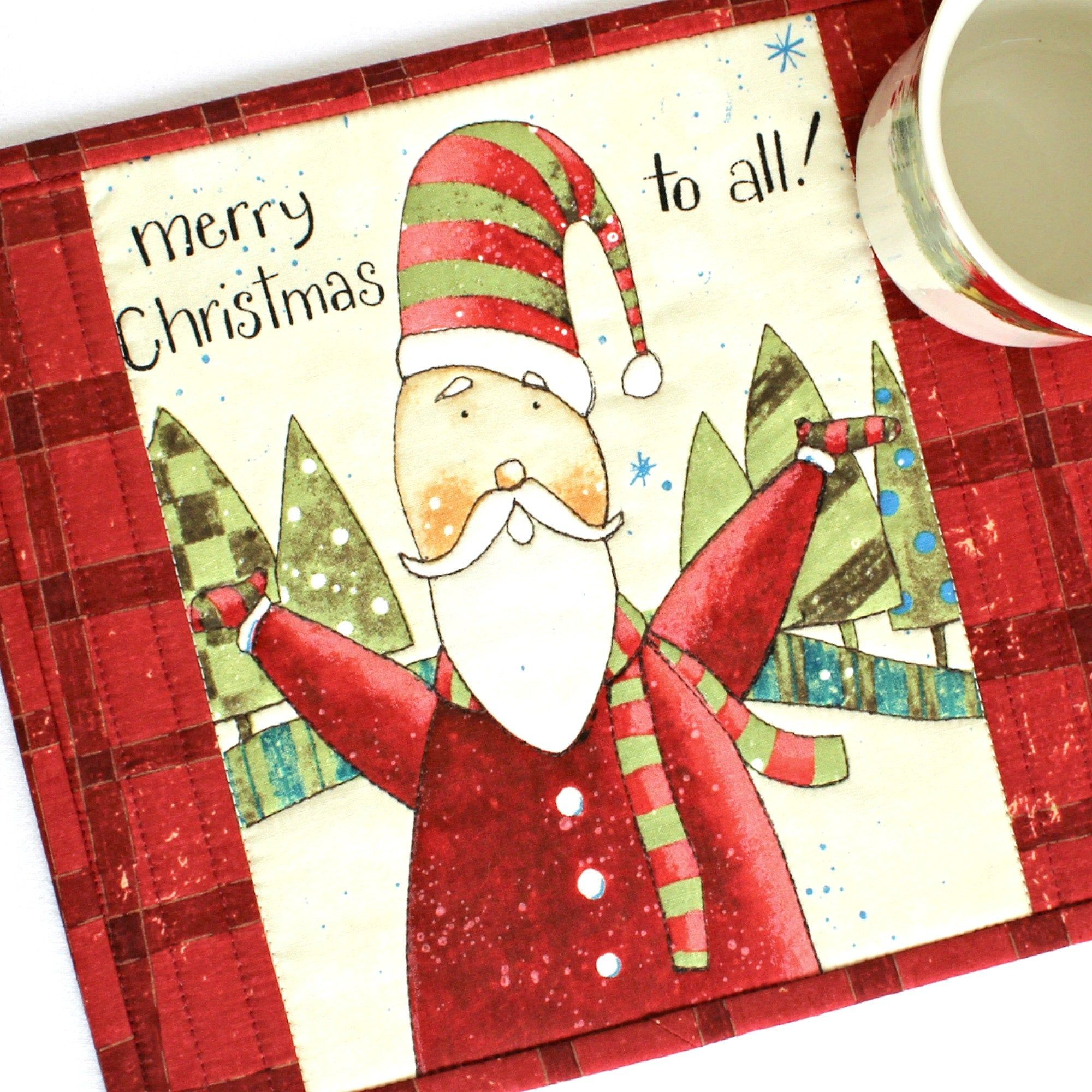 Quilted Christmas Mug Rug Etsy in 2020 Christmas mug