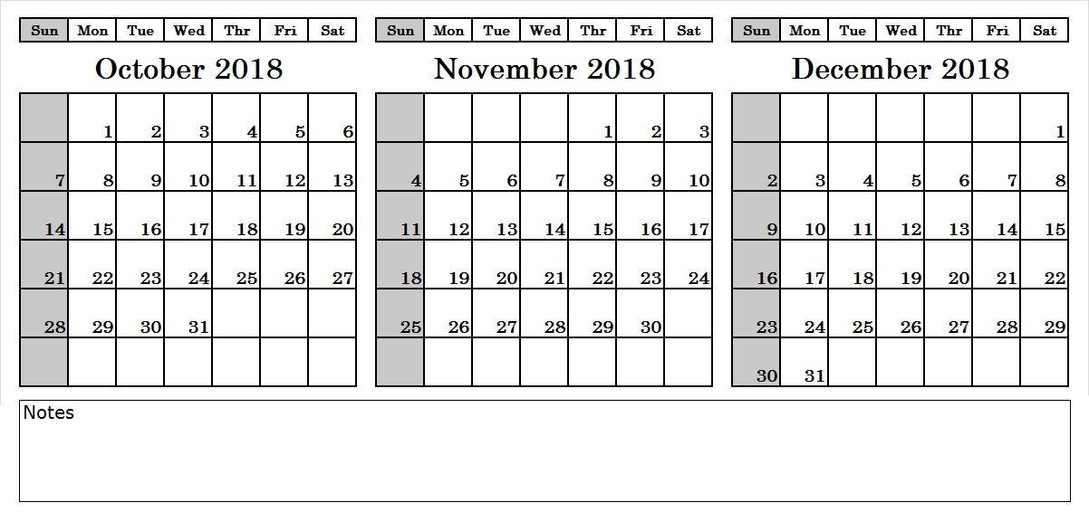 3 Month Calendar October November December 2018 October 2018
