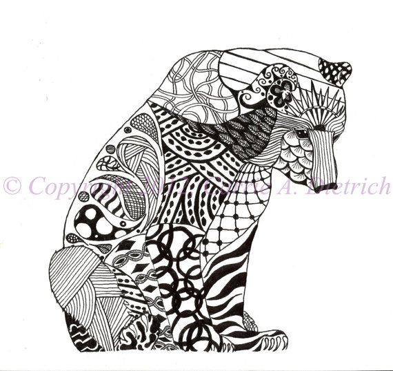 Black And White Art Pen And Ink Animals Polar Bear Illustration