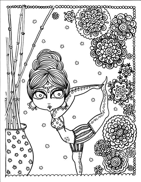 Big Yoga Coloring Book Page Colouring Adult Detailed Advanced Printable Zentangle Anti Stress Frbung