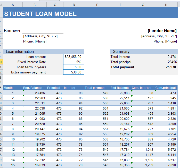 calculator for student loans