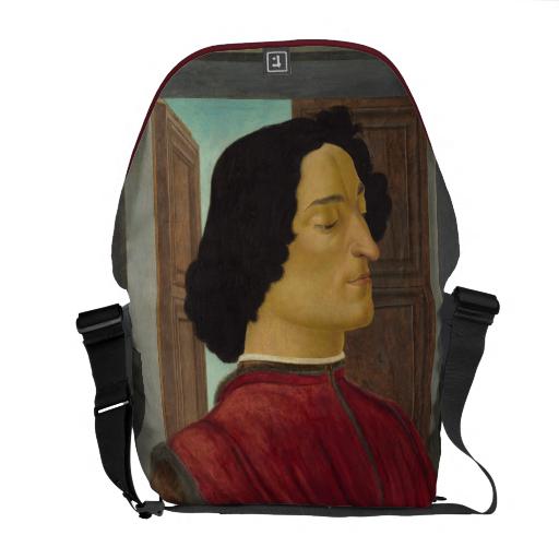 Portrait of Giuliano de Medici by Botticelli Courier Bag