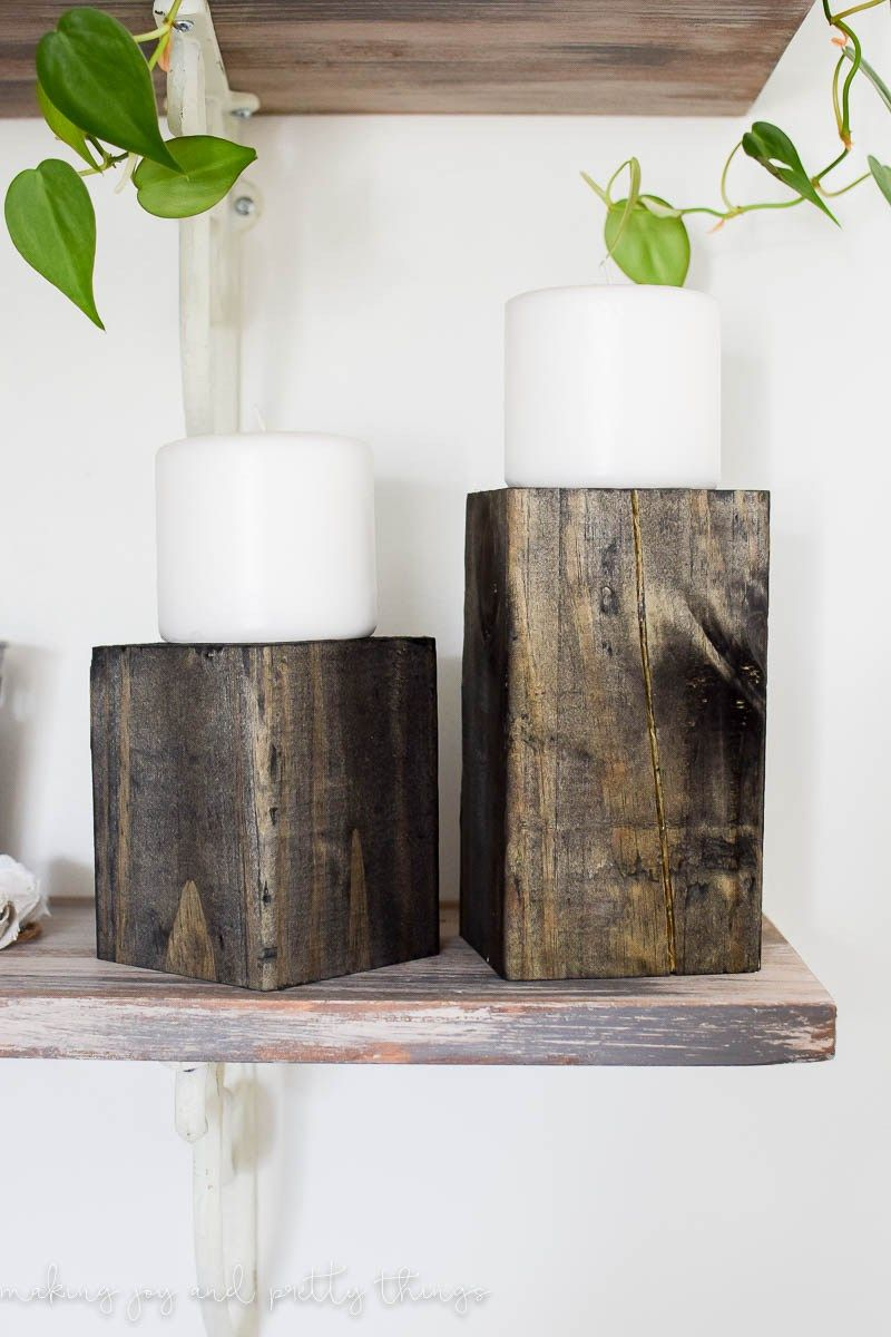 How To Make The Easiest Diy Wooden Candle Stands Wood Block