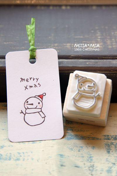 Merry Xmas Snowmen Stamp Carving Idea                                                                                                                                                                                 More