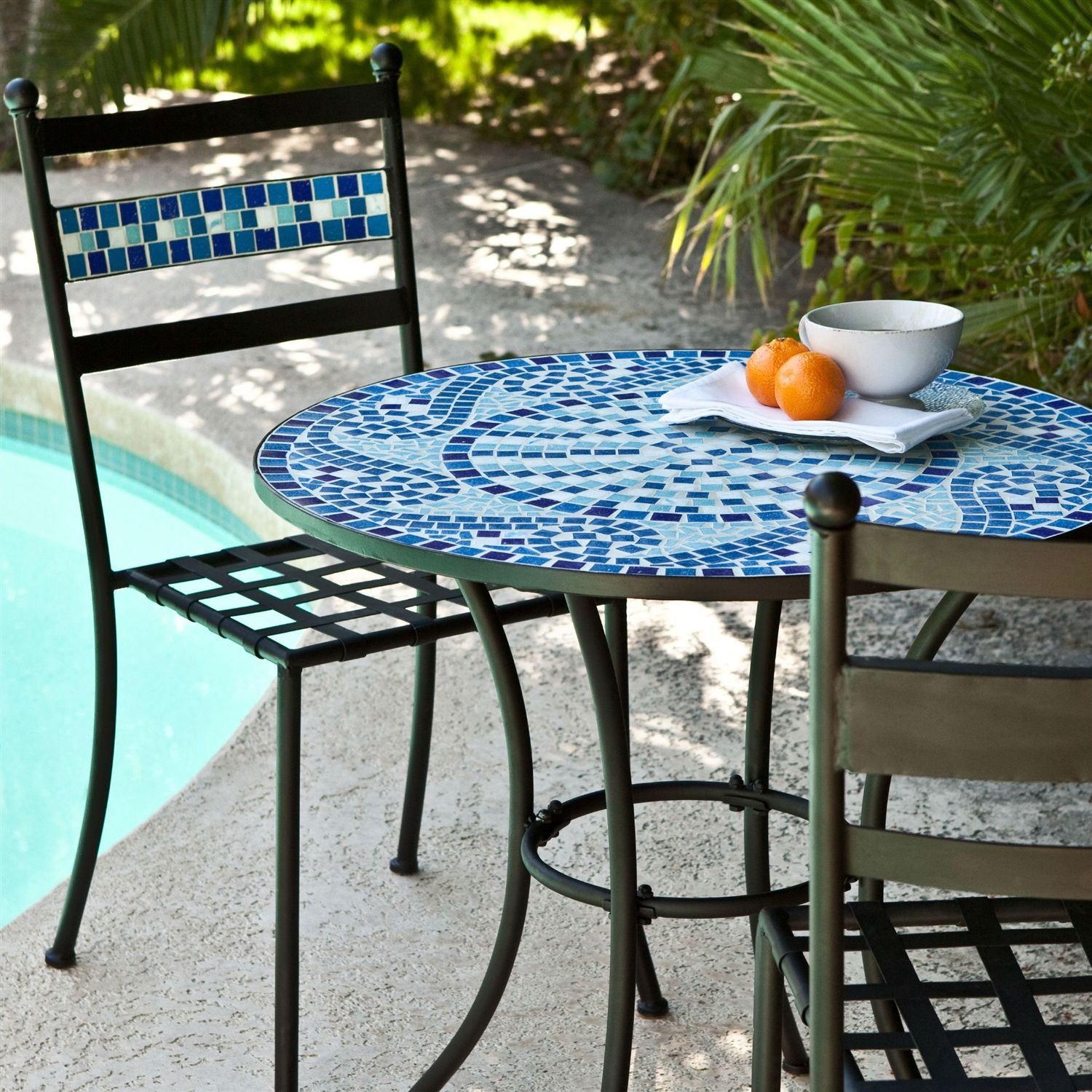 Iron Patio Set Bistro Indoor Or Outdoor Premium Mosaics Tile Tabletop Aqua And Blue A Great Dining Experience