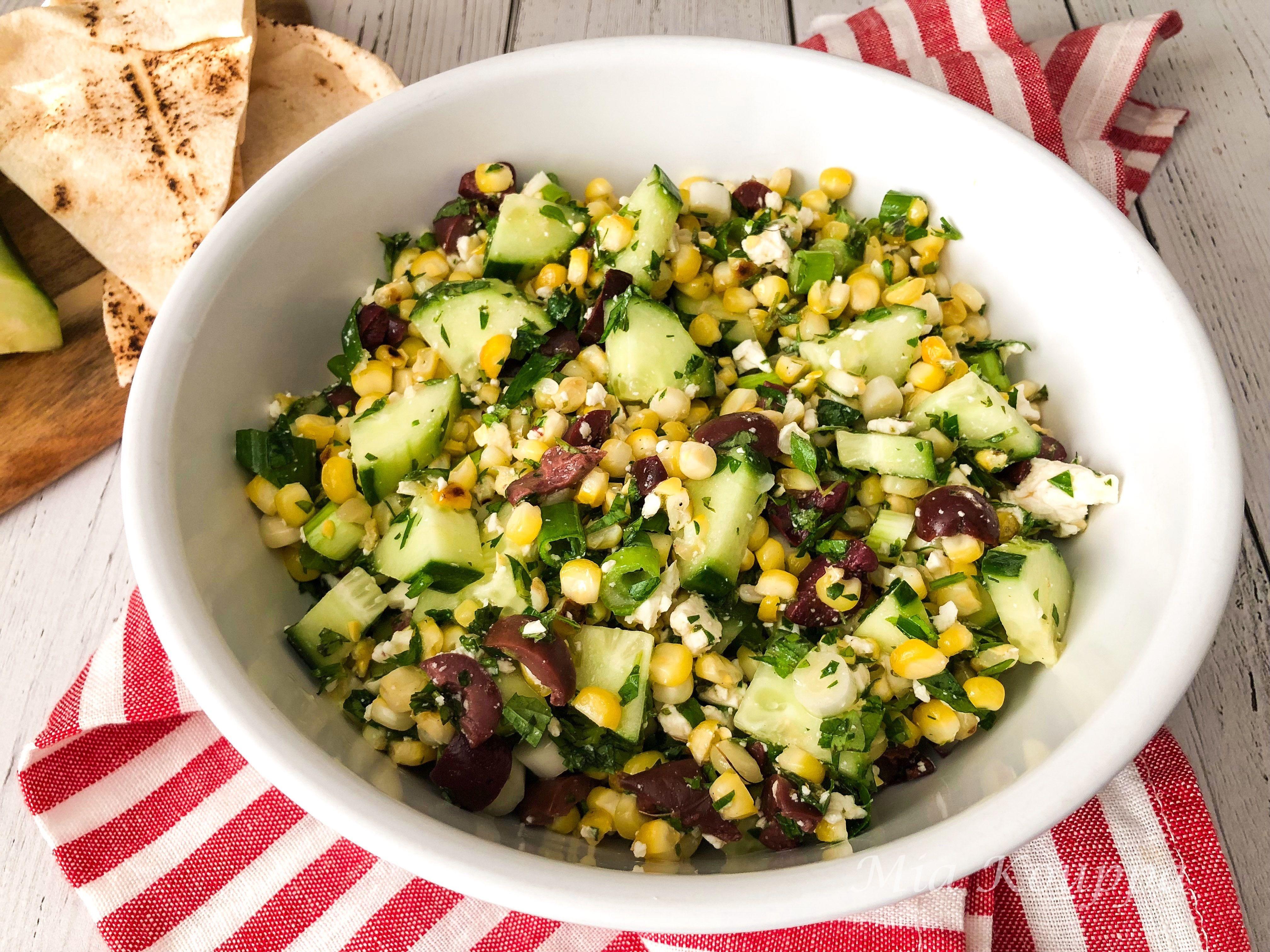 Grilled Corn Cucumber And Feta Salad Recipe Feta Salad Grilled Corn Salad