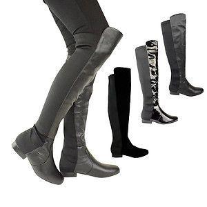 Womens Flat Wide Leg Stretch Calf Over