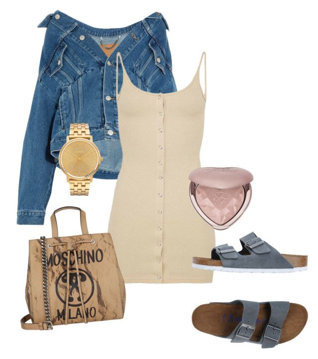 """""""milano babe"""" by outherspace on Polyvore featuring Balenciaga, Moschino, Birkenstock, Too Faced Cosmetics and Nixon"""