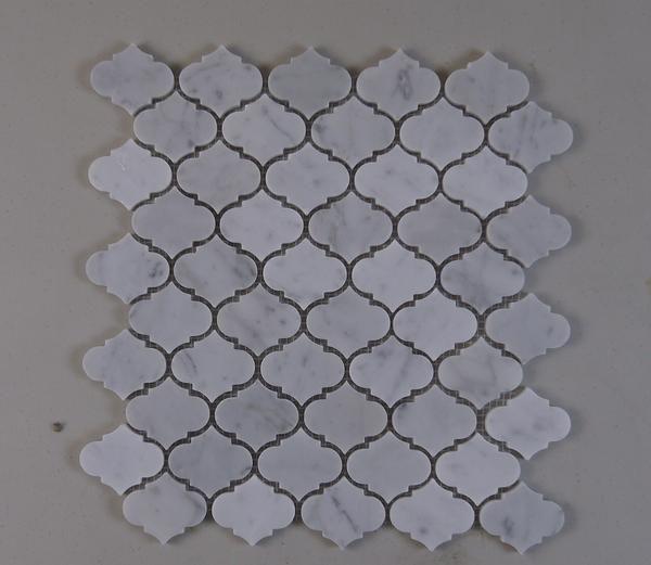 Carrara White Marble Mini Arabesque Marrakesh Mosaic Bathroom