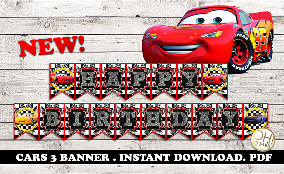 CARS 3 BANNER Birthday Banner Cars Party Supplies Disney
