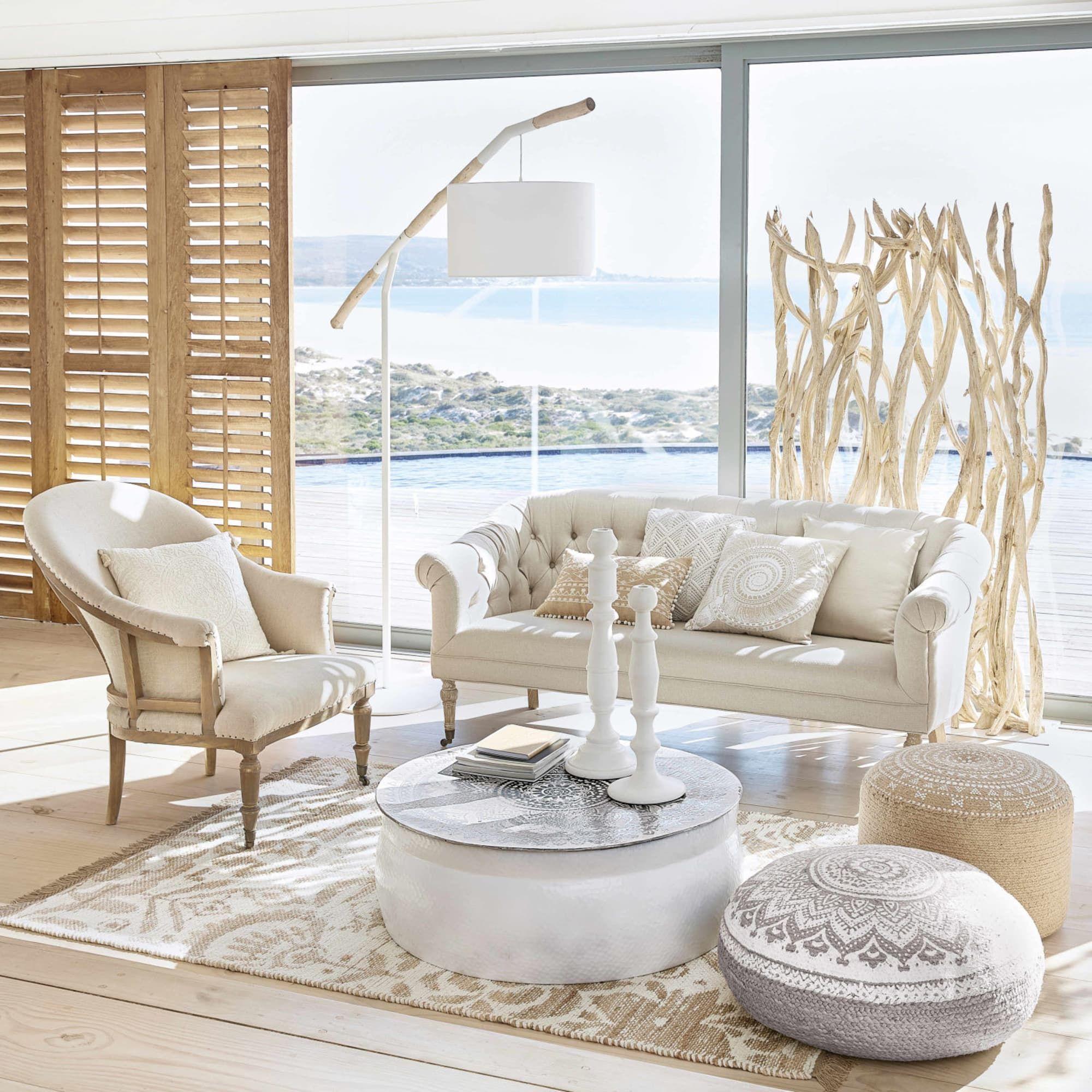 Table Basse En Aluminium Martele Blanc Motifs Argentes Mandala Maison De Vacances Mobilier De Salon Maison
