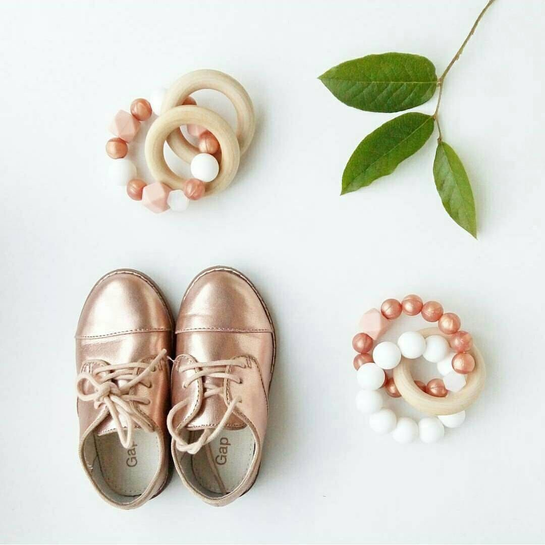 Trinity Silicone and Wood Baby Teething ring