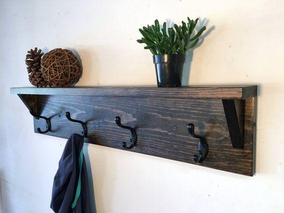 Coat Rack With Shelf Wood Coat Hooks Wall By Treetopwoodworks Coat Rack Wall Rustic Coat Rack Coat Rack Shelf