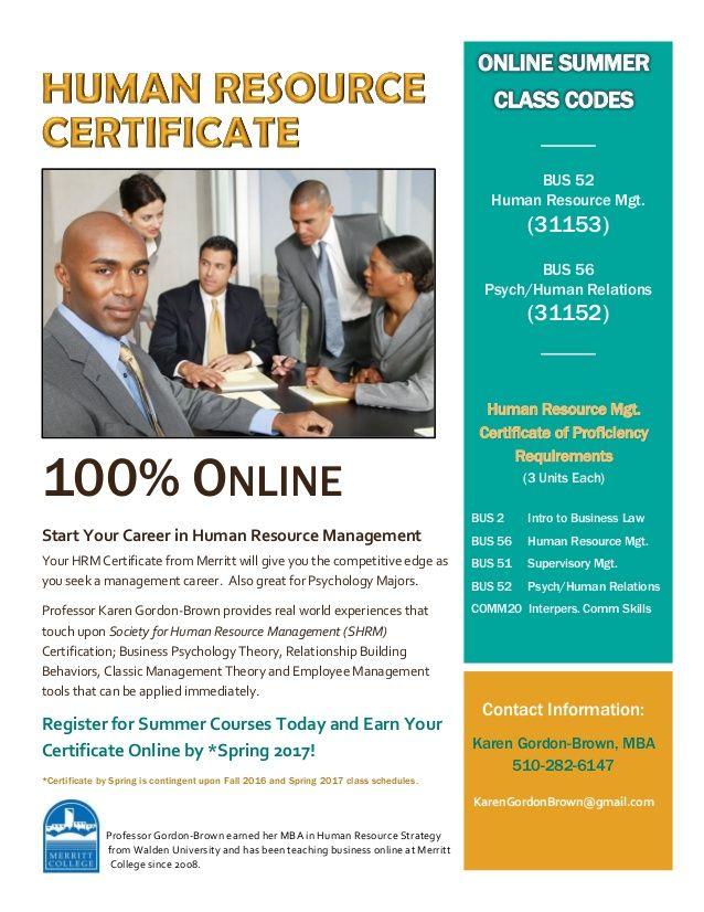 Human Resource Management Certificate 100 Online Human Resource