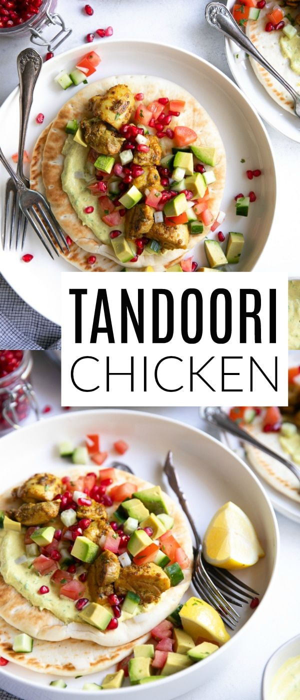 Tandoori Chicken Gyros with Curried Yogurt Sauce #tandoorichicken