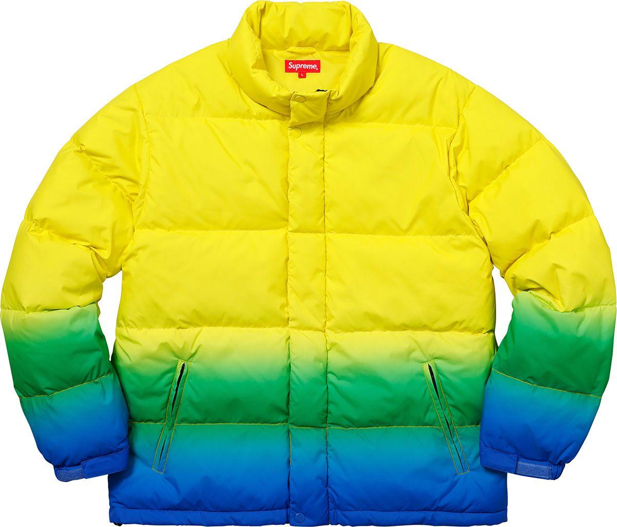Supreme Gradient Puffy Jacket Puffy Jacket Yellow Puffer Jacket Jackets [ 1024 x 1200 Pixel ]