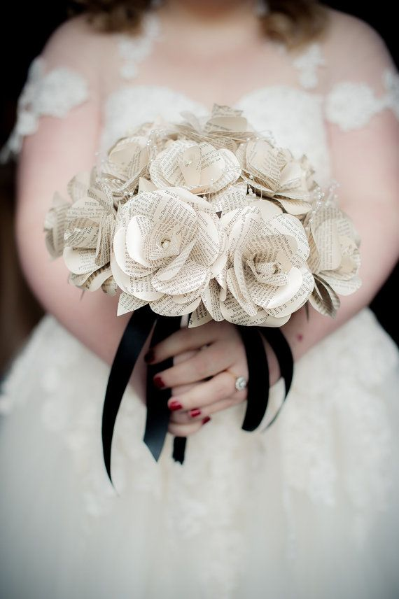 Check out this item in my Etsy shop https://www.etsy.com/uk/listing/293201841/book-paper-rose-bridal-bouquet