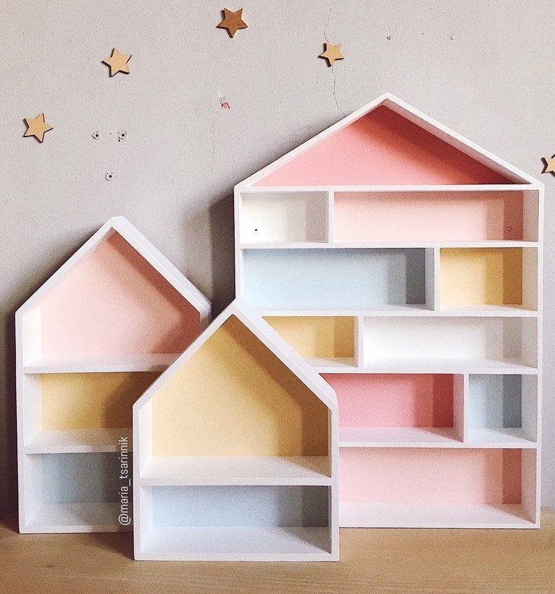 Set 3 House Shaped Shelves Wooden House Shelves Kids Shelf Etsy In 2020 House Shelves Kids Shelves Decorating Shelves