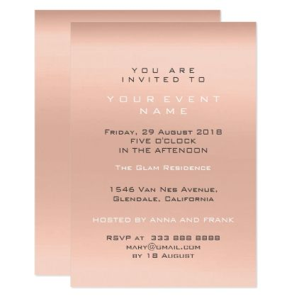 Peach Coral Minimal Ombre Pastel Gray Event Lux Card - minimal - event card template