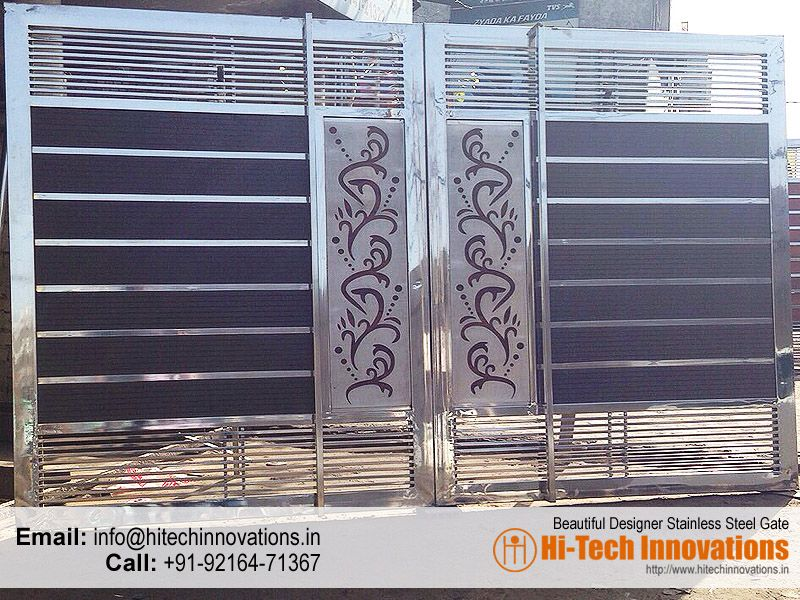 Beautiful designer steel gate 012fl mixed media for Main gate door design