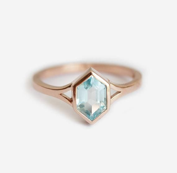 Aquamarine Engagement Ring, Blue Hexagon Ring, Modern Engagement Ring, Split Shank Ring, Unique Solitaire Ring in 14k or 18k Solid Gold