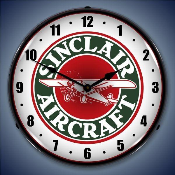 Sinclair Aircraft Led Lighted Wall Clock 14 X 14 Inches Wall Clock Light Logo Wall Clock Clock