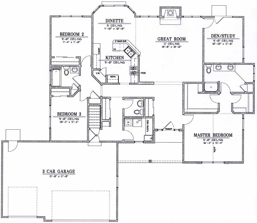 house plans ranch 9848 2 033 ft2 3 0 bedrooms 2 5 bathrooms house plan favourites 2. Black Bedroom Furniture Sets. Home Design Ideas