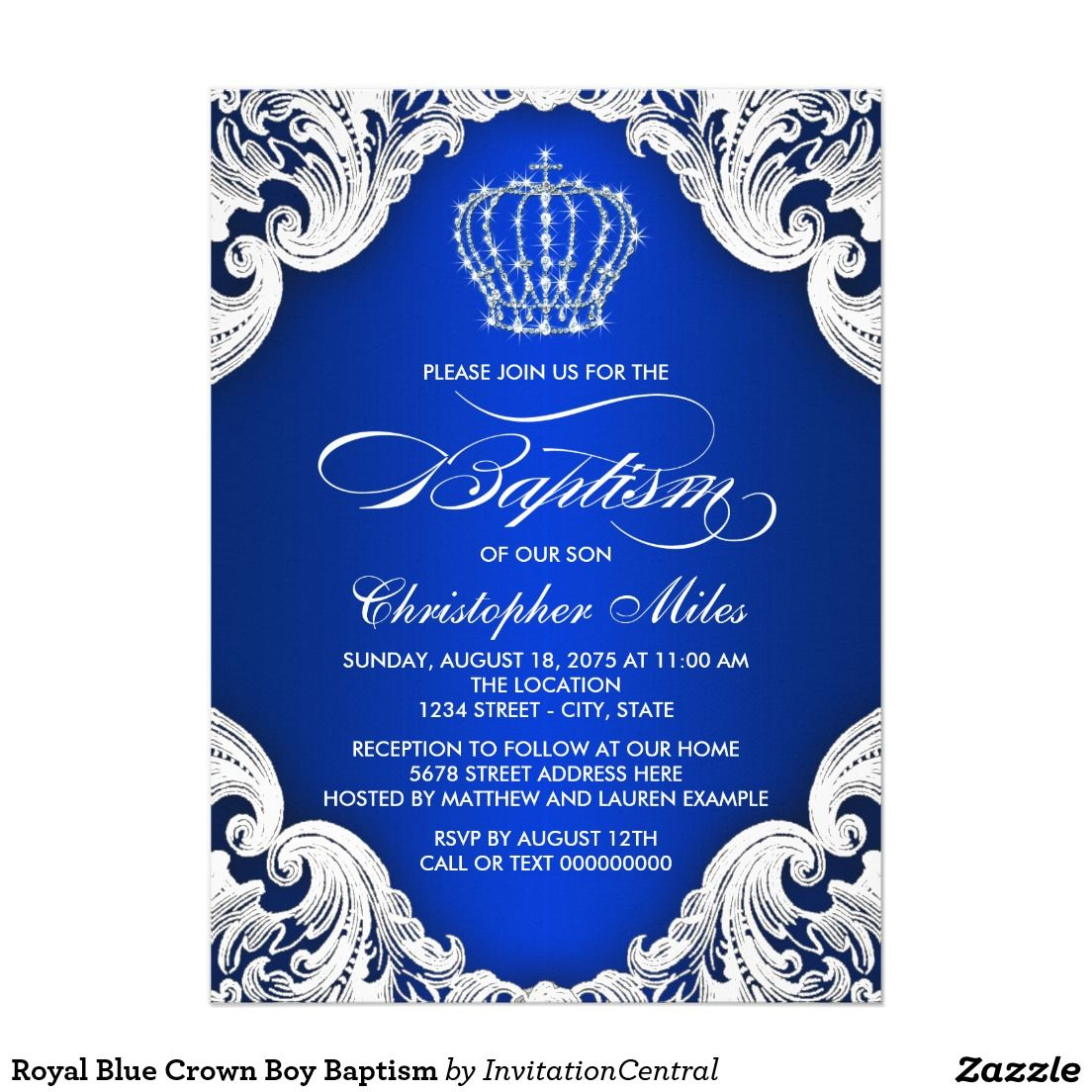 Royal Blue Crown Boy Baptism Invitation Zazzle Com