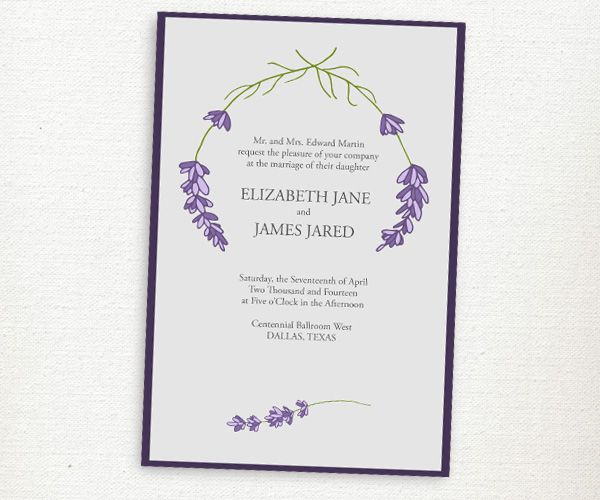 Lavender Wedding Invitations From Texas Farmers Daughter
