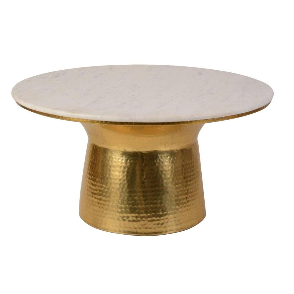 Home Decorators Collection Cupertine 31 In Gold Marble Medium Round Marble Coffee Table With Hammered Base Dc18 65050 The Home Depot Marble Round Coffee Table Stone Coffee Table Coffee Table [ 1000 x 1000 Pixel ]